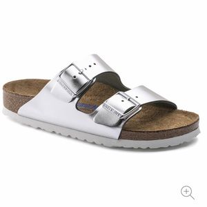 Birkenstock Silver Soft Footbed Sandals Size 7